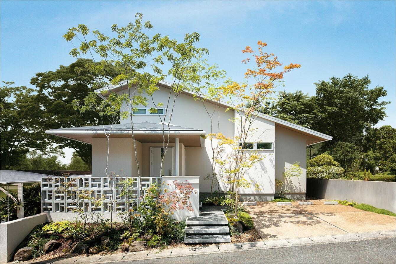 自然の趣漂う庭に切妻の大屋根が映える 微気候デザインを採り入れた心地よい住まい