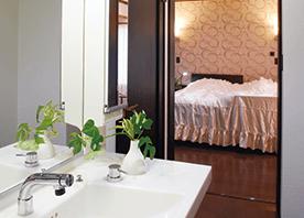 寝室、リビング、水まわりを ひとつながりに計画する