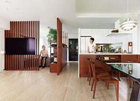広々ワンルームを叶える、格子+造作収納